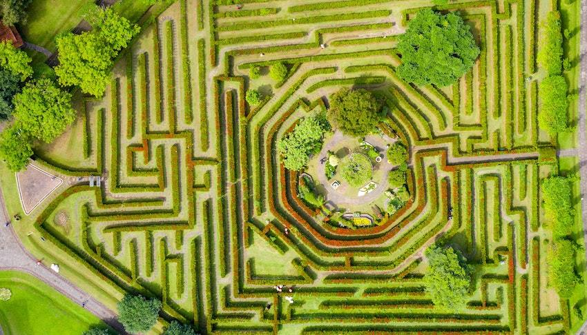 a hedge maze, symbolizing hedge funds, risk management, and investing in hedge funds