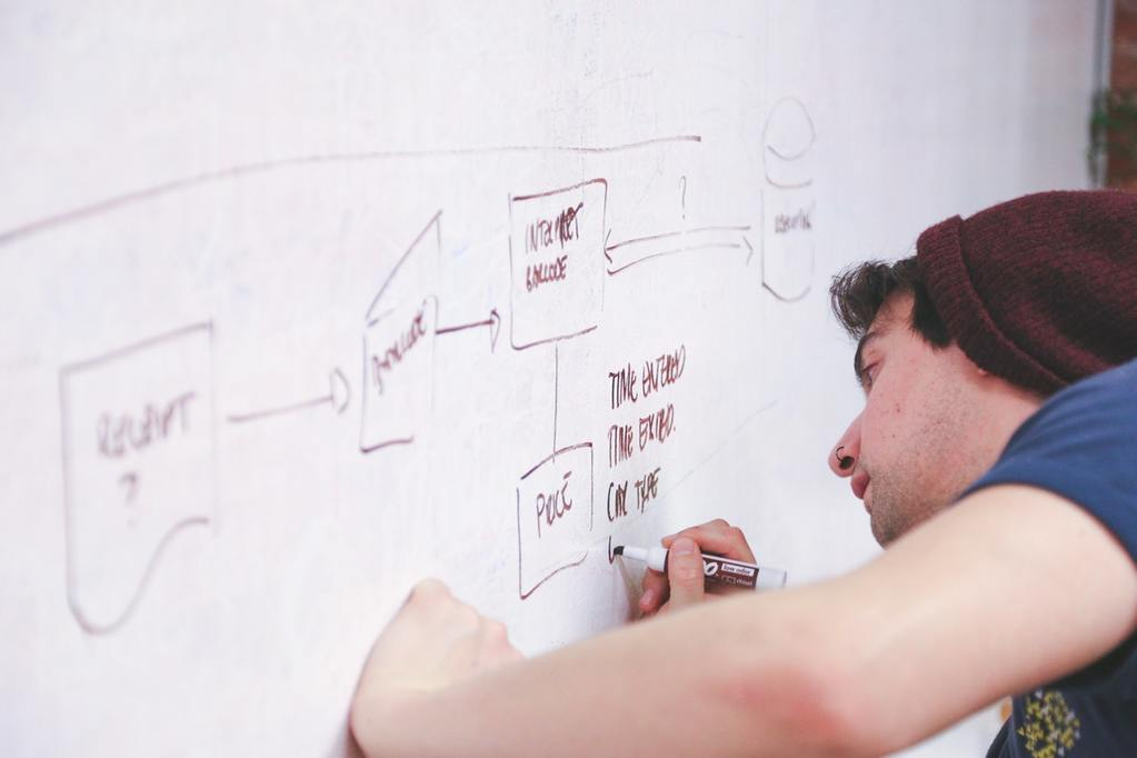 A startup entrepreneur makes notes on a whiteboard, taking notes from business leaders