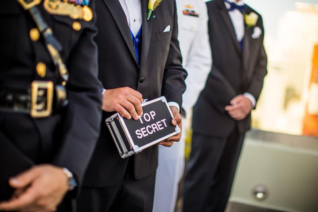 man in black blazer with top secret sign, representing non-disclosure terms and types of non-disclosure agreements