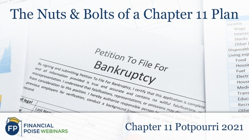 Chapter 11 Potpourri - Nuts Bolts of Chapter 11 Plan